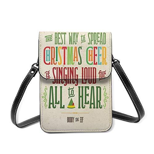 Borsa a tracolla piccola Buddy The Elf Christmas Cheer borsa a tracolla per cellulare leggera borsa a tracolla per donne e ragazze