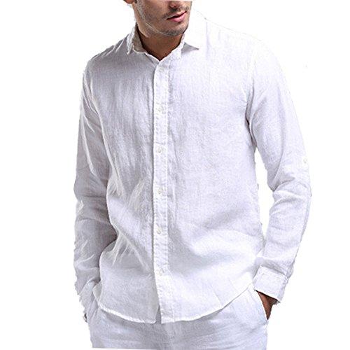 Najia Symbol Casual Camisa para Hombre Manga Larga 100% Lino Shirt (XL/ES 54, Azul)