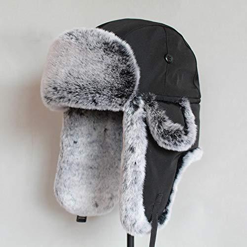 GUILING Winter-Bombermütze für Herren, Kunstfell, russische Mütze, Uschanka, dick, warm, mit Ohrenklappen