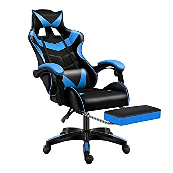 Gaming Chair Office Chair Racing Chair with Footrest,Backrest and Seat Height Adjustment Recliner with Headrest and Lumbar Pillow E-Sports Chair  Blue