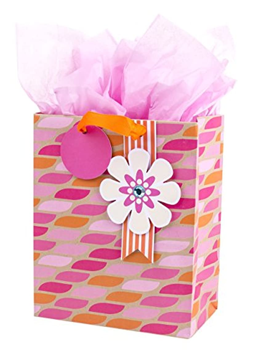 Hallmark Medium Gift Bag with Tissue Paper for Birthdays, Mother's Day, Bridal Showers, Baby Showers or Any Occasion (Pink & Orange with Flower)