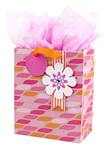 Hallmark mittelgroße Geschenktüte mit Seidenpapier für Geburtstage, Brautpartys, Hochzeiten oder andere Anlässe (Pink Rose) Mittleres Rosa und Orange
