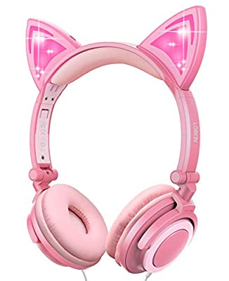 Kids Headphones with Cat Ear,Lobkin Wired Headphones Over Ear for Children,Foldable Headphone with Glowing Light for Kindle Fire, Samsung, iPad Tablets (peach) by Lobkin