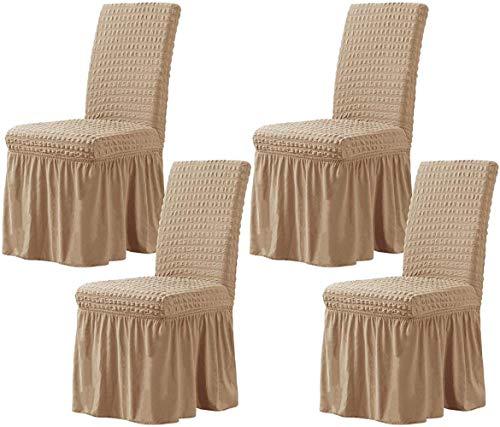 Mazu Homee Funda flexible para silla de comedor, con falda, funda protectora extraíble y lavable, adecuada para niños y mascotas, ceremonias familiares, banquetes, fiestas de boda