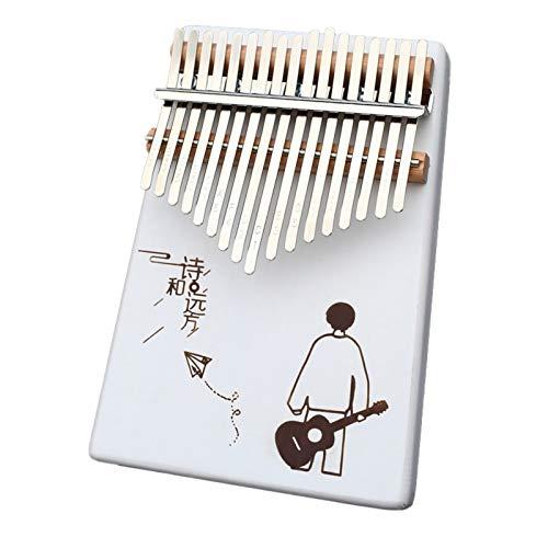 17 Key Kalimba Thumb Piano, Strumento Pianoforte Dito Marimbas, Con Sintonizzazione Hammer Studio Istruzione Piano, Best Birthday Regalo, (Serie Da Sogno Bianco) White L