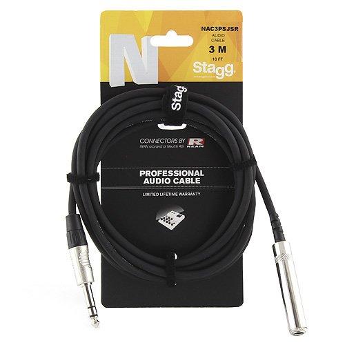 Stagg 25019314 Kopfhörerverlängerungskabel (3m, 1x Stereo Klinke Stecker-auf-1x Stereo Klinke Buchse, 6,3 mm)