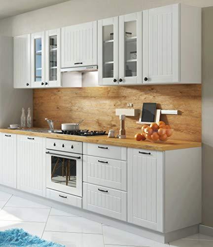 Möbel für Dich Landhaus Einbauküche LORA Küchenzeile 260 cm im Landhausstil weiß, beige o. grau (weiß)