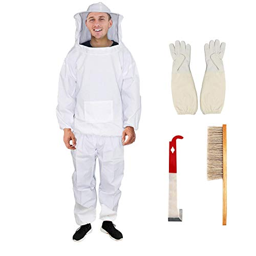 Professional Bee Jacket with Pants and Fencing Veil, Bee Keeper Costume, Cotton Ventilated Bee Suit with Gloves, Beekeeping Suit Outfit, Pullover Bee Keepers Smock Costume for Men and Women