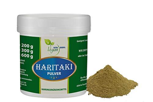 VITAIDEAL VEGAN® Haritaki Pulver (Terminalia chebula, Myrobalan, Myrobalane) 100g Pulver inklusive Messlöffel, rein natürlich ohne Zusatzstoffe.