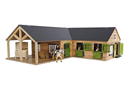 Kids Globe 610211 Pferdehof aus Holz-Maßstab 1:24, naturfarben, mit 3 Boxen, beweglichen Türen, Fenster und Tore, Mehrfarbig