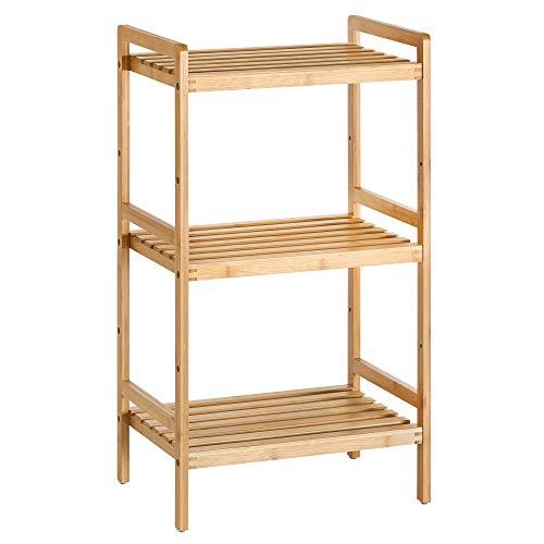 SONGMICS Estantería de bambú de 3 niveles para baño, cocina y dormitorio, 45 x 31,5 x 80 cm, Natural BCB073N01