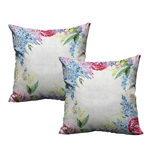 Dasnh 2 Piece Printed Throw Pillow Springtime Fragrance Garland with Bunch of Flowers Lilac Lavender Rose Peony Artsy Print 24'x24',Bedding Gift