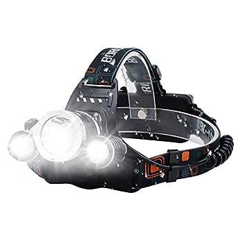 VOMONO Lampe frontale LED - 3 LED - 15000 lumens - Rechargeable par USB - Étanche - Réglable à 90 ° - Pour le camping, la pêche, la course, le jogging, la randonnée, la lecture, le travail