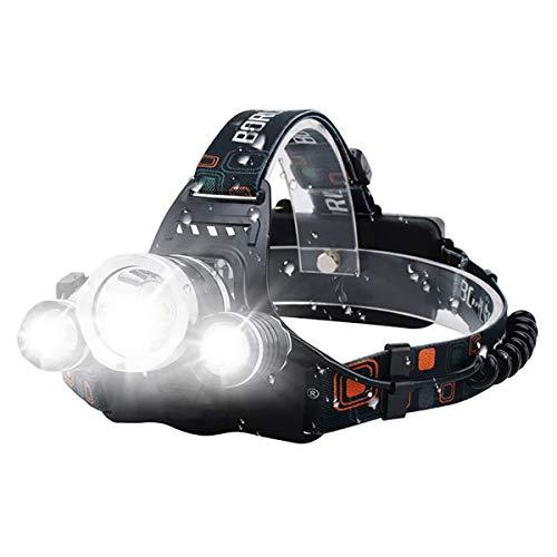 VOMONO Linterna frontal LED, 3 ledes, 15000 lúmenes, recargable por USB, resistente al agua, ajustable a 90°, para camping, pesca, correr, caminar, leer, trabajar.