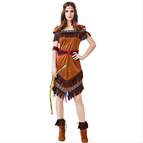 HG-amaon Bogenschütze der indianischen Ureinwohner Halloweens zeigt Kostüm, Tassan-Kleid L mit flachem Schulter-BH, abgebildet