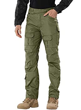 AKARMY Men s Waterproof Hiking Pants,Tactical Combat Military Pants Outdoor Work BDU Cargo Pants Multi-Pocket Workwear G4WF ArmyGreen 32