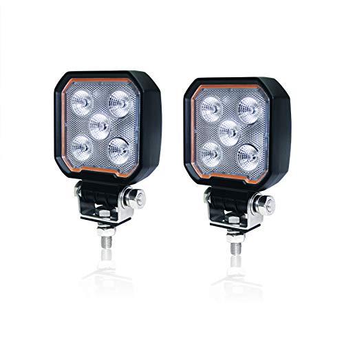 Par de faros delanteros LED para coche todoterreno, 12V 24V 25W IP68, luz de trabajo del proyector, para luz de circulación diurna Luz antiniebla profunda, delgada superbrillante 2800 lúmenes