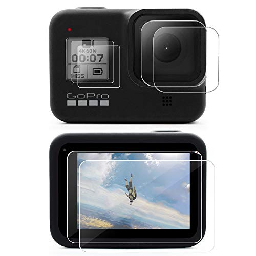MAXCAM Screen Protector for GoPro Hero 8(Black Only), Ultra Clear Tempered Glass Screen Protector + Tempered Glass Lens Protector + Front Screen Protector - 2 Packs