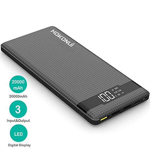 Portable Charger Power Bank, Hokonui 20000mAh External Battery Packs Quick Charge 3.0 with 3 Inputs & 3 Outputs Compatible for iPhone, Samsung Galaxy S9 Plus/S9/S8 Plus/S8, iPad and More 5647470064