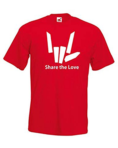 Unisex Boys Girls Share The Love Logo Short Sleeved Cotton Top T Shirt 3 13 Years 9 11 Years Red