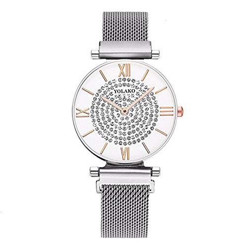 Reloj de Mujer de Moda Reloj Femenino Estrellado Reloj de cinturón de Malla de Milano de Hierro de succión Reloj de Hebilla de imán de Cuarzo Ultrafino Completo Reloj Femenino