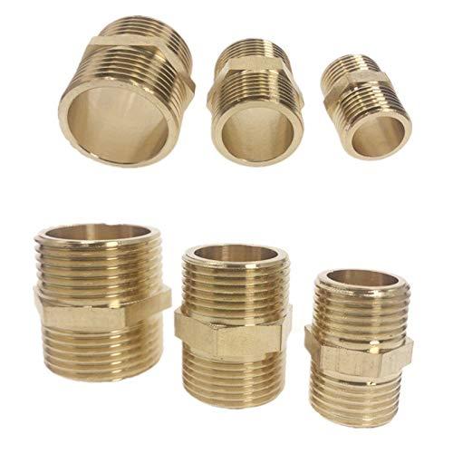 """NO LOGO Messingrohr hexagonal Schnellkupplung Kupplungs 1/8 """"1/4"""" 3/8 """"1/2"""" 3/4 """"1"""" BSP Außengewinde Wasser, Öl und Gas-Kupplungs (Size : 3/8"""