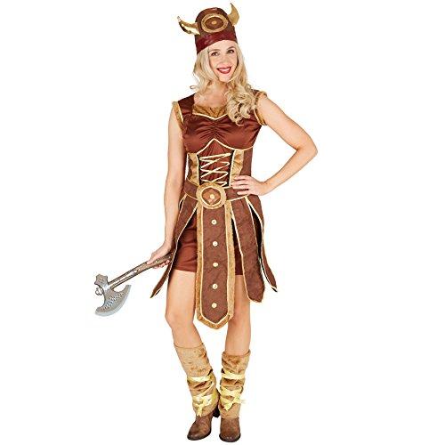 TecTake dressforfun Disfraz para Mujer Vikinga | Vestido con Delantal | Incl. Calentadores y Gorro de Vikingo (XL | no. 301352)
