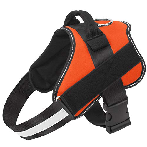 Bolux Dog Harness, No-Pull Reflective Dog Vest, Breathable Adjustable Pet Harness with Handle for Outdoor Walking - No More Pulling, Tugging or Choking ( Orange, XS )