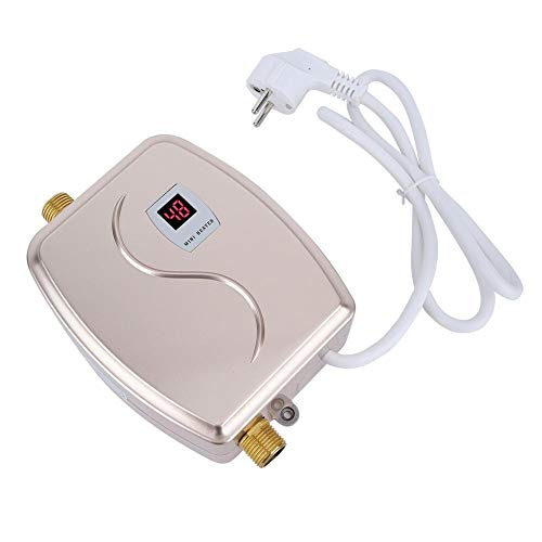 Acouto Durchlauferhitzer, Flüssiggas-Durchlauferhitzer mit digitaler LCD-Temperaturanzeige, 220 V, 3800 W(Gold)