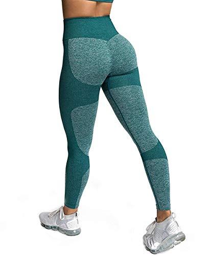 JFAN Pantalones de Yoga Súper Elásticos Sin Costuras para Mujer y Sujetadores Deportivos Conjunto de Polainas de Yoga para Correr en el Gimnasio