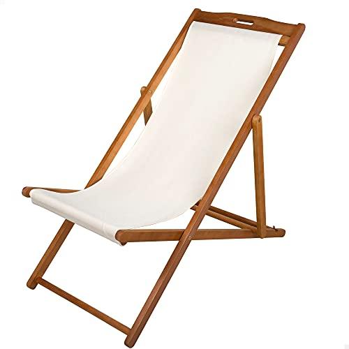 Aktive 61027- Tumbona de madera para jardín, madera acacia, medidas 59x106x94 cm, asiento beige, respaldo reclinable,...