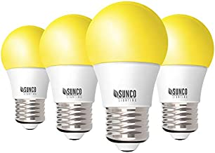 Sunco Lighting A15 LED Bulb, Yellow Light, 8W, Dimmable, Repellent, 2000K Amber Glow, Ideal for Outdoor Patio, Deck, Backyard, Porch, String Lights - 4 Pack
