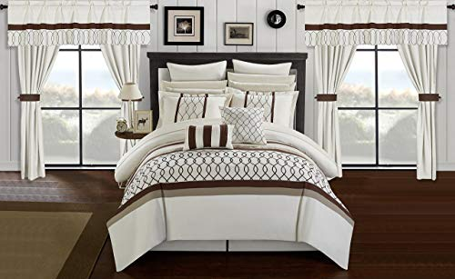 Chic Home Dinah 24 Piece Bed in a Bag Comforter Set, King, Off-White