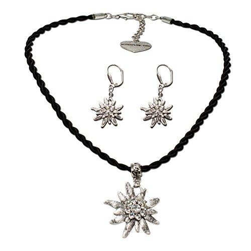 Alpenflüstern SET021 - Parure composta da collana e orecchini con cordoncino e stella alpina con strass, da donna, stile tradizionale bavarese, colore: nero