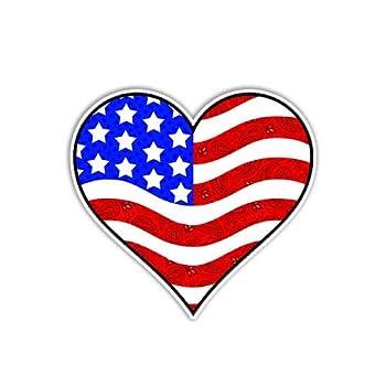 American Flag Heart Sticker Patriotic USA Car Decal by Megan J Designs - Laptop Sticker Window Car Decal Vinyl Sticker