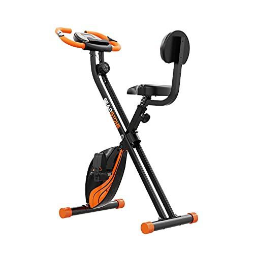 GEARSTONE Bicicleta Estática Plegable Fitness D2, Entrenador Interior para Entrenamiento Cardiovascular, 8 Niveles de Resistencia Magnética, Soporte para Teléfono, Sensor de Pulso, Peso Máximo 100 kg