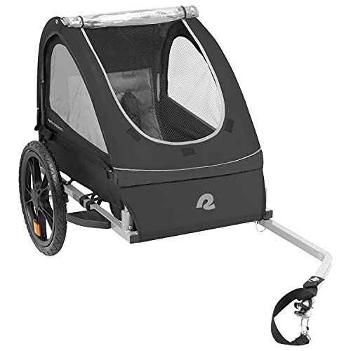 Retrospec Rover Kids Bicycle Trailer - Single & Double Passenger Children's Foldable/Collapsible Tow Behind Bike Trailer with 16' Wheels, Safety Reflectors & Rear Storage Compartment - Black