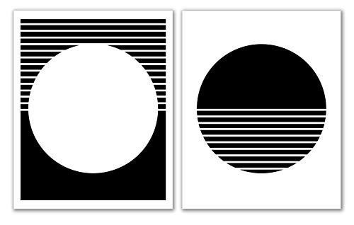"Scandi Print Set Of 2-8"" x 10"" - Unframed, Printable Art, Minimalist Wall Art, Modern Wall Art, Geometric Print, Scandinavian Modern, Black and White Print"