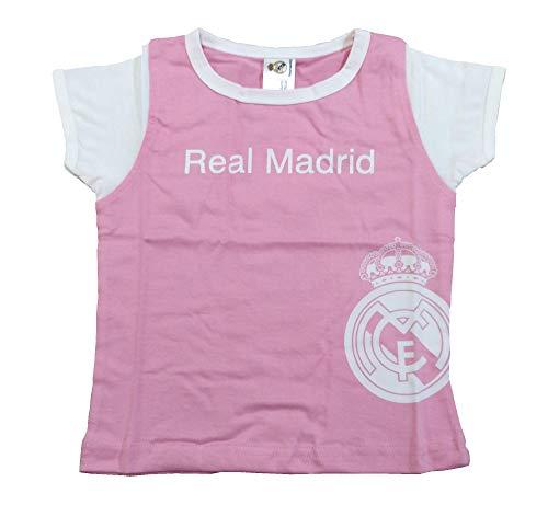 Camiseta Real Madrid Niñas - Rosa - Escudo Real Madrid Blanco (6 Meses)