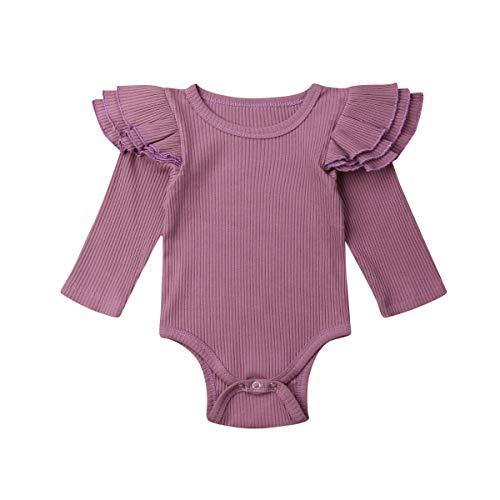 Pasgeboren Baby Meisje Ruche Romper Effen Lange Mouw Gebreide Bodysuit Een Stuk Jumpsuit Outfit Kleding