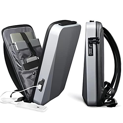 Mochila para portátil de negocios con puerto de carga USB y EVA elástica portátil, tela impermeable, llave de contraseña antirrobo.