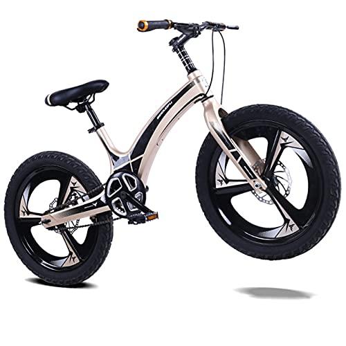 Bicicleta para Niños De 16, 18 Y 20 Pulgadas. Bicicleta De Montaña Integrada De Aleación De Magnesio, Velocidad Única, Oro,18 Inch