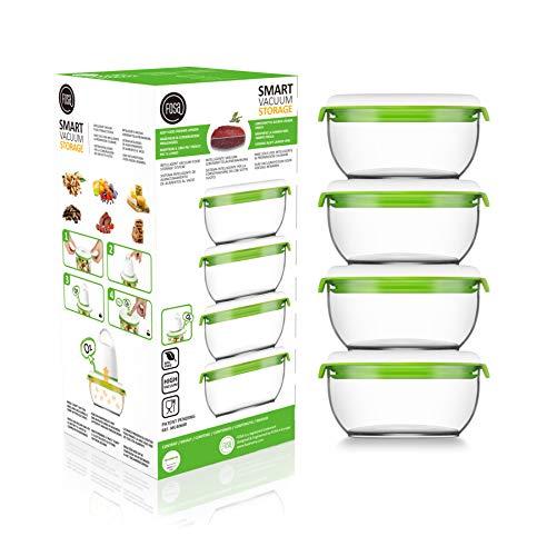 4 recipientes redondos de 600 ml para sistema patentado de envasado al vacío doméstico, automático e inalámbrico FOSA – Conserva cualquier alimento más tiempo – Plástico premium de nivel sanitario