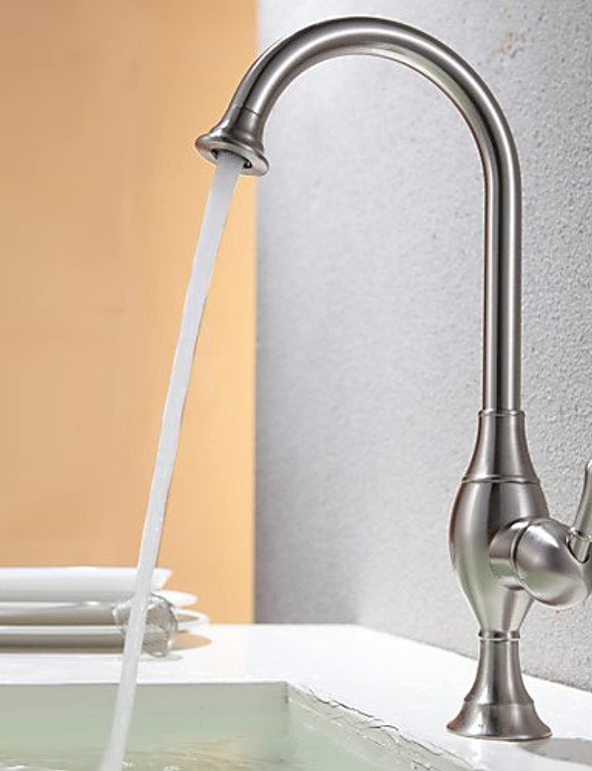 Contemporary Kitchen faucet Nickel Brushed One Hole