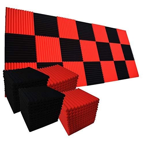 Schalldämmende Wandfliesen für Akustikschaum, 30,5 x 30,5 x 2,5 cm, Schwarz/Rot, 96 Stück