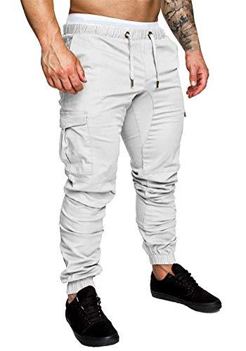 Minetom Homme Pantalons De Sport Running Training Slim Cargo Legging Jogging Fitness Gym Chino Pants Mode Casual Été Automne Blanc Small