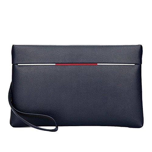 Bolso De Mano De Los Hombres Bolsa De Mano De Cuero Suave De Gran Capacidad Mano - Agarrar El Paquete Paquete De Paquete Casual De Teléfono Móvil Simple Paquete,Blue-OneSize