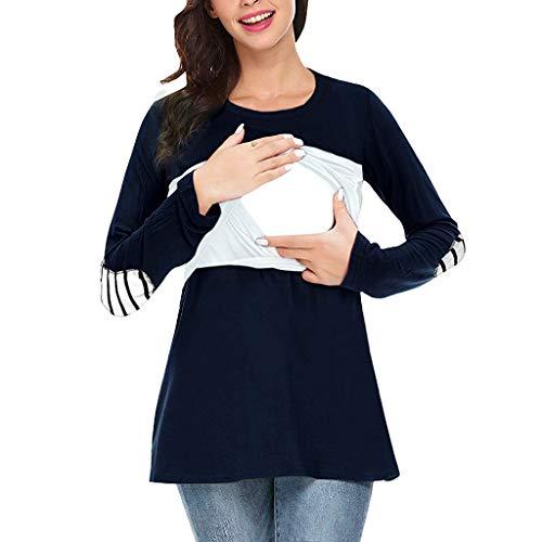 Solike Femme Enceintes Sweatshirt, Grossesse Femme Manche Longue d'allaitement Maternité Hoodie Rayure Multifonctionnel Sweat Shirt A Capuche Automne Hiver Pas Cher Pullover