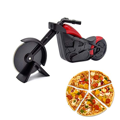 HengKe Motorcycle Pizza Cutter - Premium Anti-rust Stainless Steel pizza slicer Sharp Blade- Fit for Cutting Pizzas, Cakes, Waffles, Pancakes and More