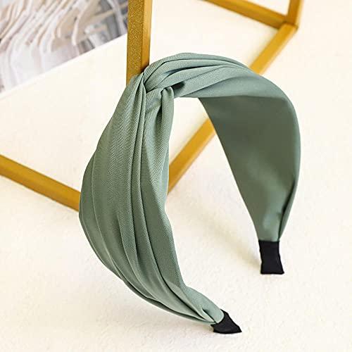 XINDUO Diademas de Nudo Cinta para Pelo,Diadema Cruzada Simple de Color sólido-Verde,Turban Diadema Moda Elástica
